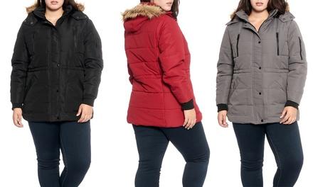 Women's Plus-Size Winter Jacket with Sherpa-Lined, Faux-Fur Hood
