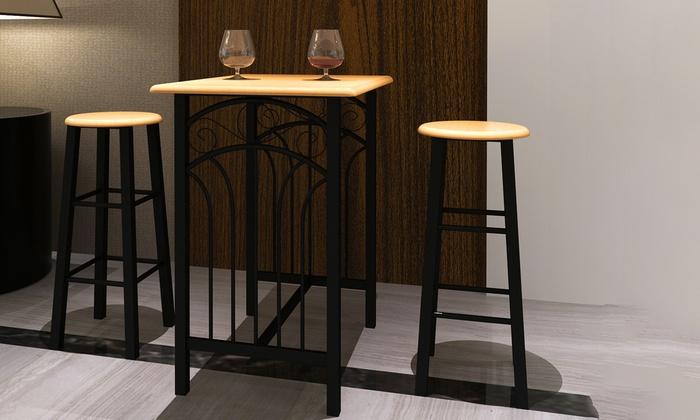 jusqu 39 47 table de bar tabourets chaises groupon. Black Bedroom Furniture Sets. Home Design Ideas
