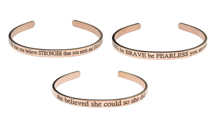 She Believed She Could Pink Box Solid Stainless Steel Inspirational Cuff Silver