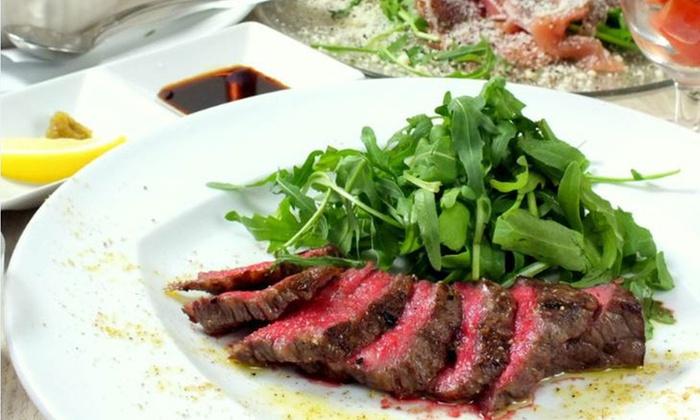 Decollo - 肉ビストロてっぺん 恵比寿店: 【最大50%OFF】旨味が深まる、話題の「熟成肉」を堪能≪熟成牛内モモ肉・アヒージョ・パスタなど7品/他1メニュー≫ @Decollo