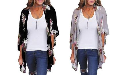 Leo Rosi Diane Floral Kimono. Plus Sizes Available.