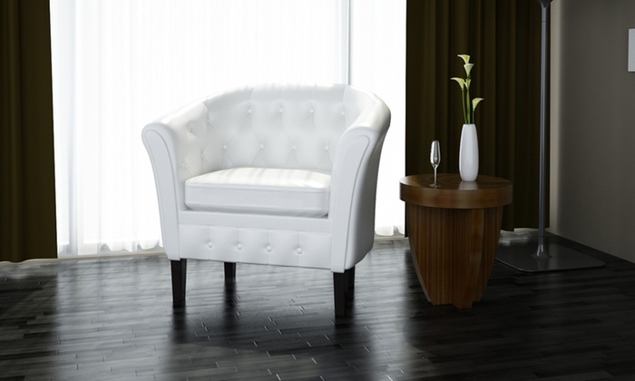 fauteuil chesterfield blanc groupon. Black Bedroom Furniture Sets. Home Design Ideas