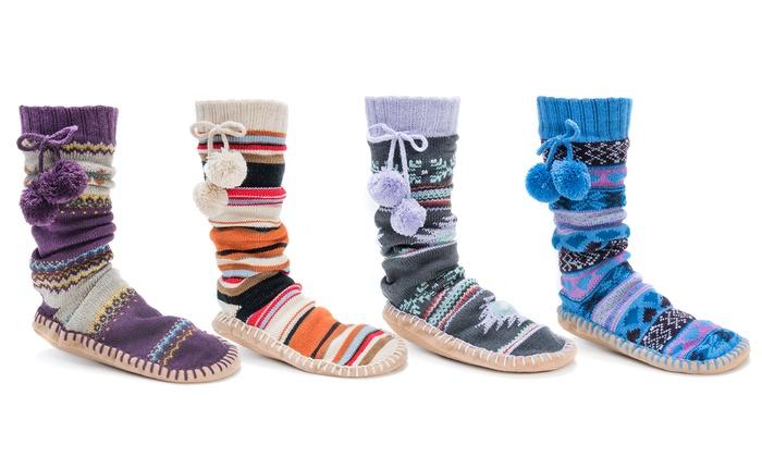 Muk Luks Women's Slipper Socks with Pompoms