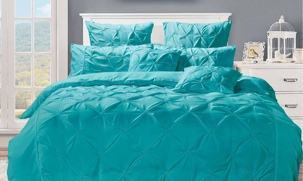 Puckered Diamond Design Quilt Cover Set: Double ($45), Queen ($49), King ($59) or Super King ($79)