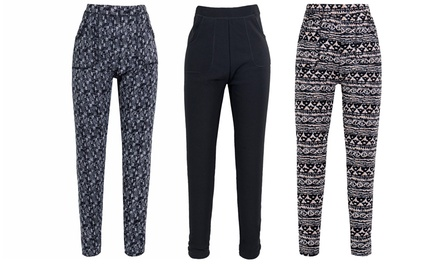 Thick Fleece Lined Printed Pants: One $19 or Two Pairs $29