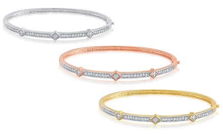 14K Gold-Plated Diamond-Accent Bangle by Brilliant Diamond