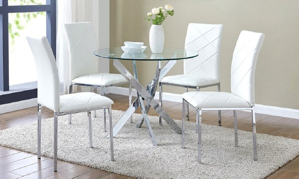 Round Dining Table With 4 Chairs Groupon, Round Glass Dining Table With Four Chairs