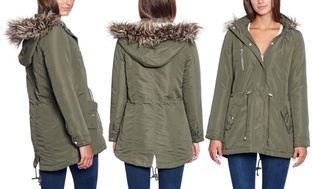 Glamsia Women's Regular and Plus Size Parka Jacket