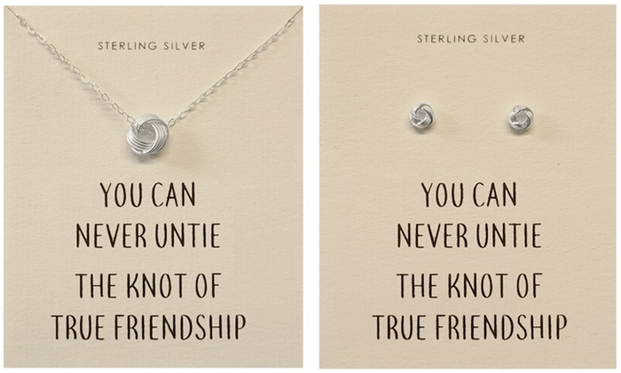 One or Two Philip Jones Sterling Silver Quote Earrings, Necklace or a Set of Both From £5.50