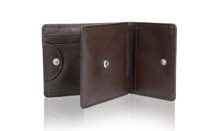 Steinhausen Men's Dark-Brown Genuine Leather Wallet with ID Window
