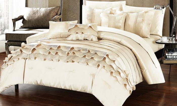 Sahara Ruffled Comforter And Sheet Set (10-Piece)