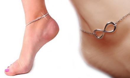 1 ou 2 bracelets de cheville en acier rhodié et ornés de cristaux Swarovski®