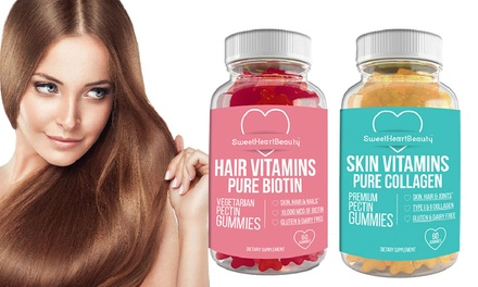 Premium Biotin Hair or Collagen Skin Gummies (30 Servings; 1- or 2-Pack)