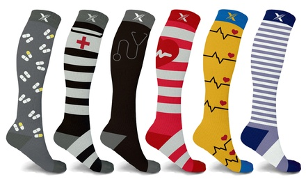 XTF Medical Professional Print Knee-High Compression Socks (3- or 6-Pairs)