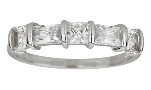 Cubic Zirconia Baguette- and Princess-Cut Ring in Sterling Silver at Cubic Zirconia Baguette- and Princess-Cut Ring in Sterling Silver, plus 9.0% Cash Back from Ebates.