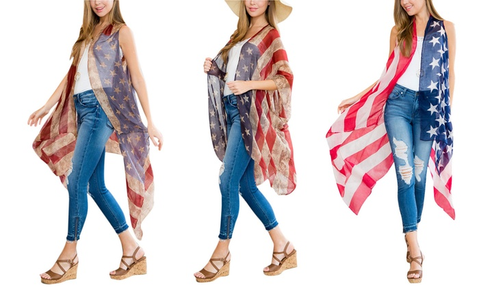 69dc0535d57c Up To 48% Off on Women's American Flag Cardigan | Groupon Goods
