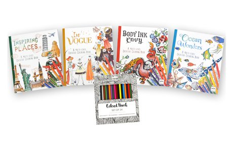 Creative Coloring Books with Pencils (4-Pack)