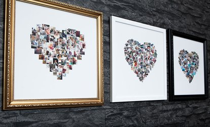"Up to Three 10"" x 10"" or 15"" x 15"" Personalised and Framed Collage Canvas Prints from MeZoo (Up to 91% Off)"
