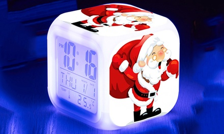Christmas Digital Alarm Clock with Colour-Changing LED: One ($14) or Two ($24)