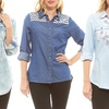 Red Jeans Women's Casual Collared Button-Down Shirt