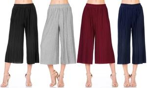 FACA Women's Elastic-Waist Accordion-Pleated Wide-Culotte Capri Pants