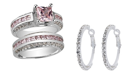 2.5ct Pink Sapphire Princess Cut 10ct White Gold Ring for £19.99