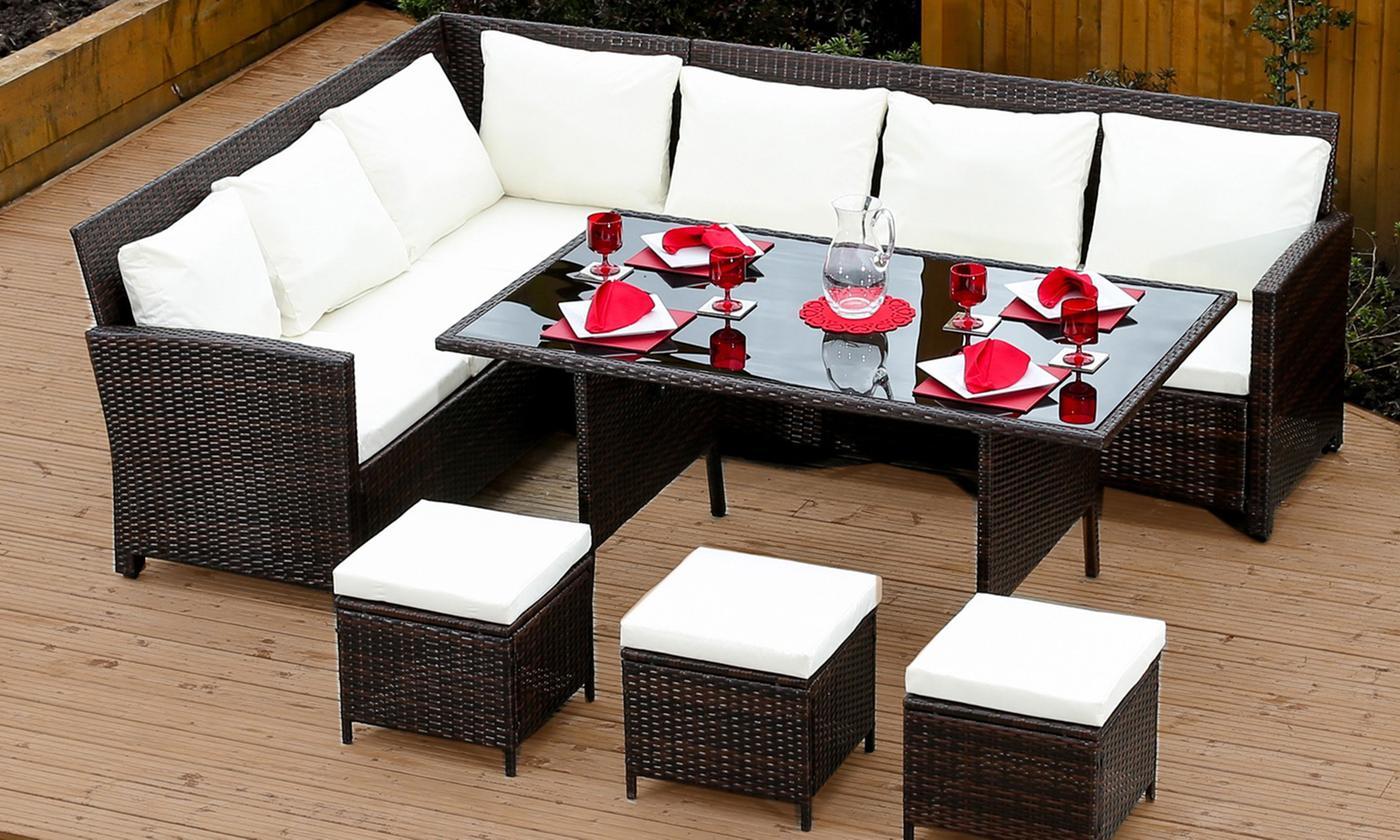 rattan corner sofa and dining set