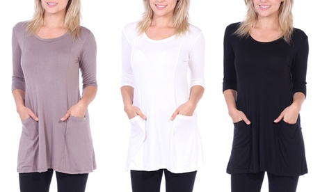 Women's 3/4 Sleeve Tunic Top With Pocket
