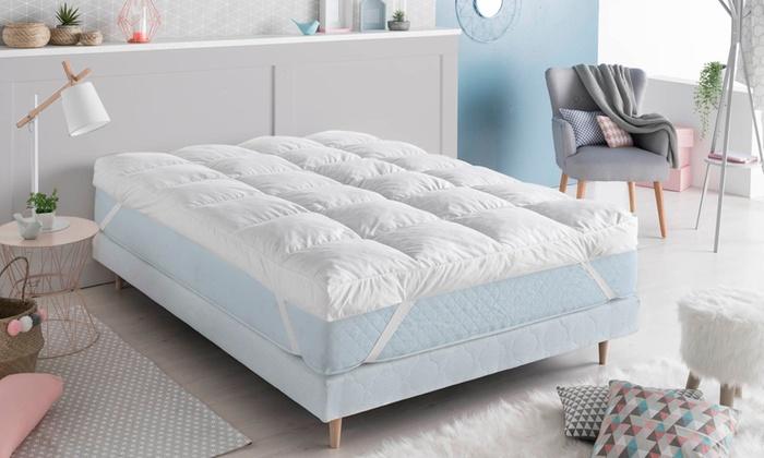 jusqu 39 59 surmatelas plumes d 39 oie 10cm groupon. Black Bedroom Furniture Sets. Home Design Ideas