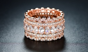 5-Row Cubic Zirconia 18K Rose Gold-Plated Eternity Ring by Barzel