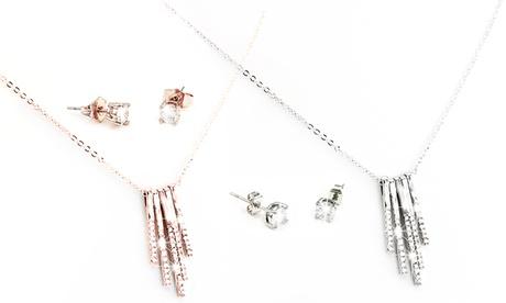 1 o 2 sets de collar y pendientes Jennifer adornados con cristales