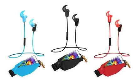 Sport Bluetooth Kopfhörer mit passender Hüfttasche in der Farbe nach Wahl inkl. Versand