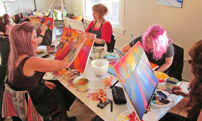 Open Arts Studio - Stadium District: Pouring Picasso Spirits and Painting Class for One, Two, or Four at Open Arts Studio (38% Off)