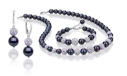129,99 zł zamiast 1199 zł: 3-częściowy zestaw biżuterii Coccola ze stopniowanych pereł opalizujących i kryształów (-89%)