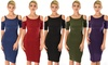 Lyss Loo Women's Here to Party Cold-Shoulder Bodycon Midi Dress: Lyss Loo Women's Here to Party Cold-Shoulder Bodycon Midi Dress