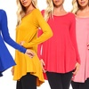 Isaac Liev Women's Flowy Long-Sleeve Tunic Top. Plus Sizes Available.