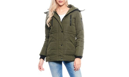Women's Ski- and Snowboard-Inspired Jacket with Sherpa Lining and Detachable Faux-Fur Hood (XL)