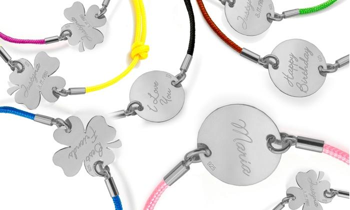 Jewellshouse: Custom Engraved Disc or Clover Bracelets from Jewellshouse (1 or 2-Pack)