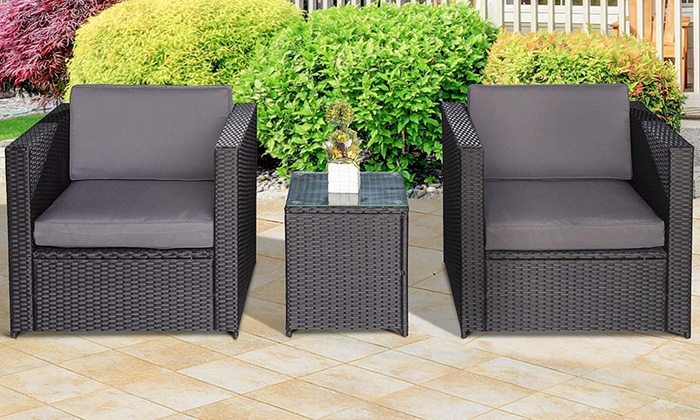 Outsunny Garden Outdoor Rattan-Effect 3-Piece Furniture Set