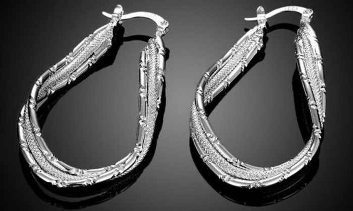Sterling Silver Abstract Hoop Earrings with French Lock