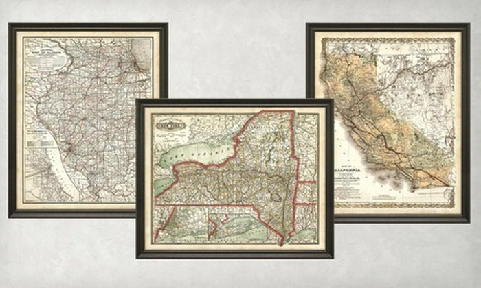 Vintage Maps Framed State From Studio Americana: Vintage State Maps At Codeve.org