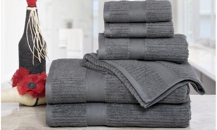 Exceptional Quick Dry Zero Twist Plush Cotton Bath Towel Set (6 Piece) ...