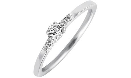 Anillo solitario de oro blanco 10ct. y diamantes con envío gratuito Oferta en Groupon
