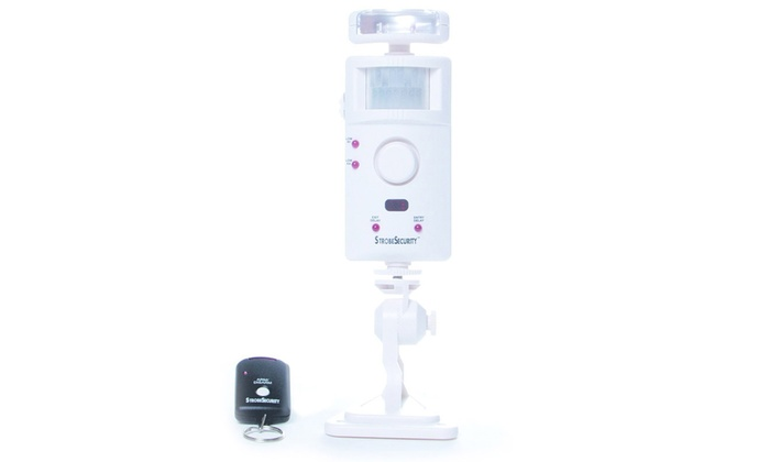Motion Detector Alarm with Strobe Light, Remote, and Door Chime