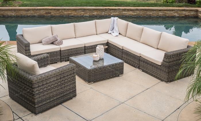 Sydney 9 Piece Outdoor Sectional Sofa Set: Sydney 9 Piece Outdoor Sectional  .
