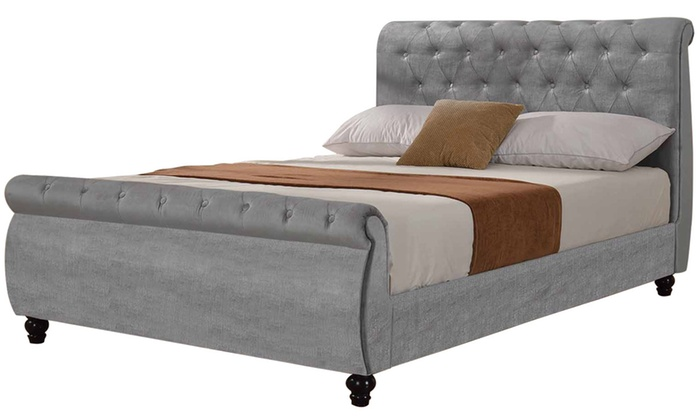 groupon goods global gmbh windsor upholstered silver velvet fabric sleigh bed in choice of size