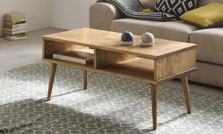 Mesa de centro Upsala de fabricación artesanal en madera de pino macizo