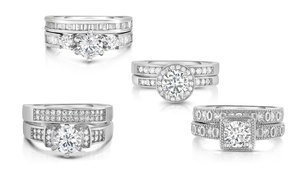 Cubic Zirconia Bridal Ring and Band Set (2-Piece)