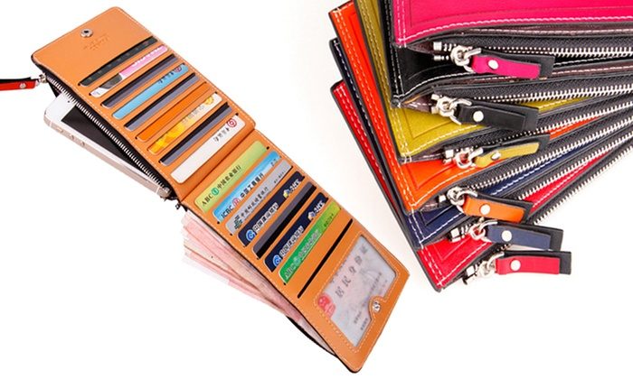 Multi Card Slots Zip Wallet with Smartphone Compartment for £5.20