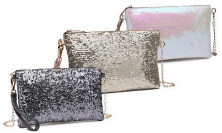 Womens Bling Sequin Clutch in Choice of Colour